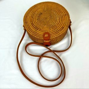 Handwoven Rattan Purse with Leather Shoulder Strap